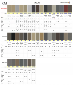 Acura Color Chart
